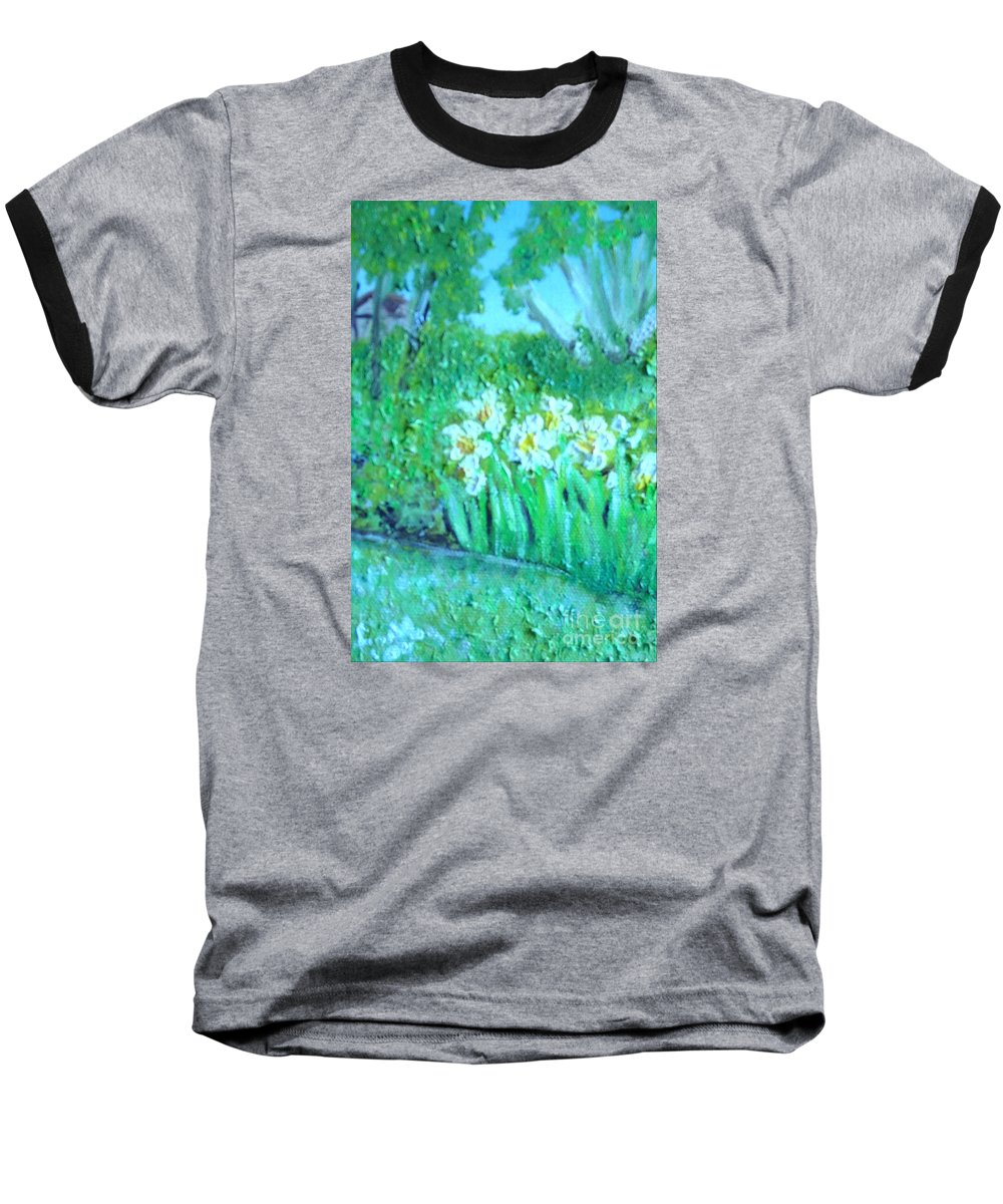 Daffodils Baseball T-Shirt featuring the painting Dependable Daffodils by Laurie Morgan