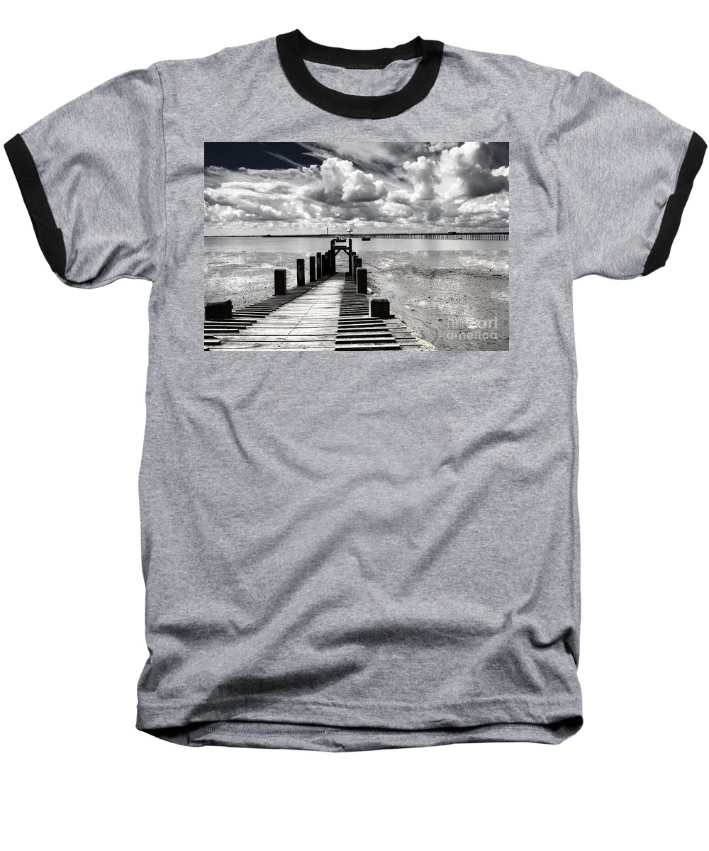 Wharf Southend Essex England Beach Sky Baseball T-Shirt featuring the photograph Derelict Wharf by Sheila Smart Fine Art Photography