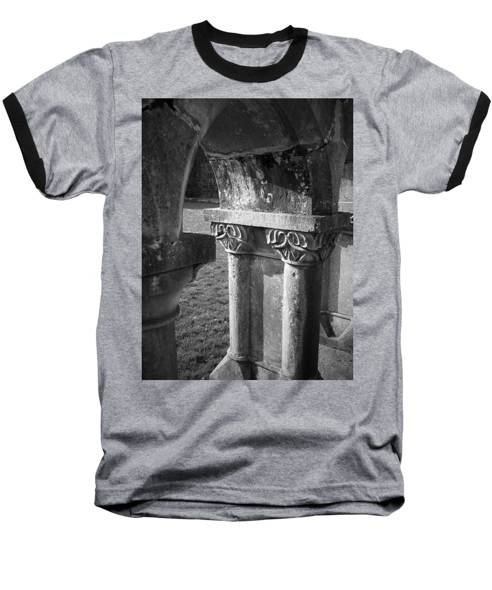 Irish Baseball T-Shirt featuring the photograph Detail Of Cloister At Cong Abbey Cong Ireland by Teresa Mucha