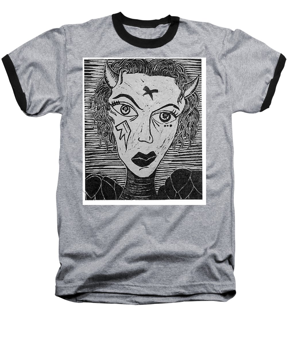 Prints Baseball T-Shirt featuring the print Devil Print Two Out Of Five by Thomas Valentine