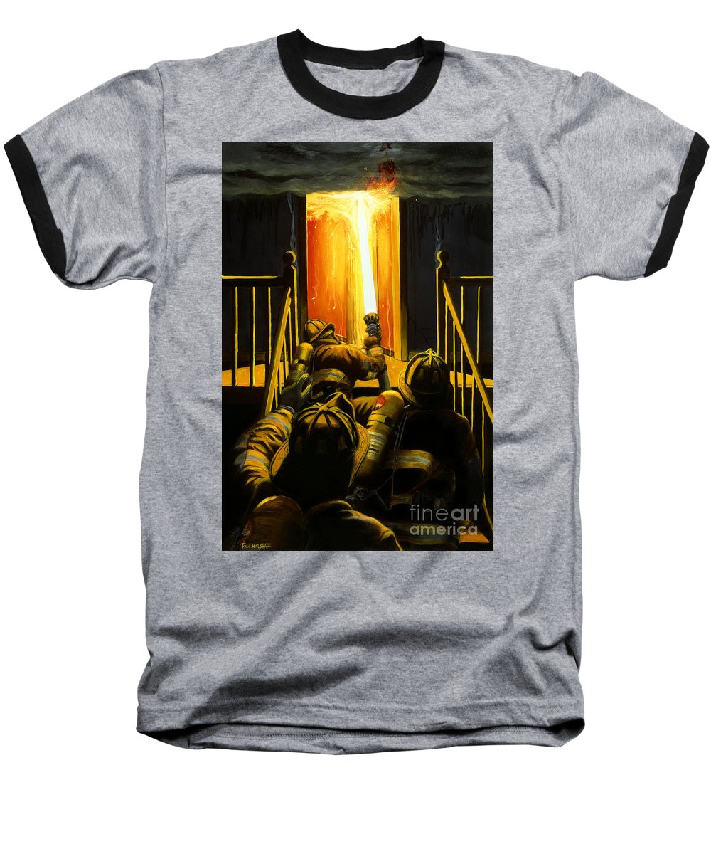 Firefighting Baseball T-Shirt featuring the painting Devil's Stairway by Paul Walsh
