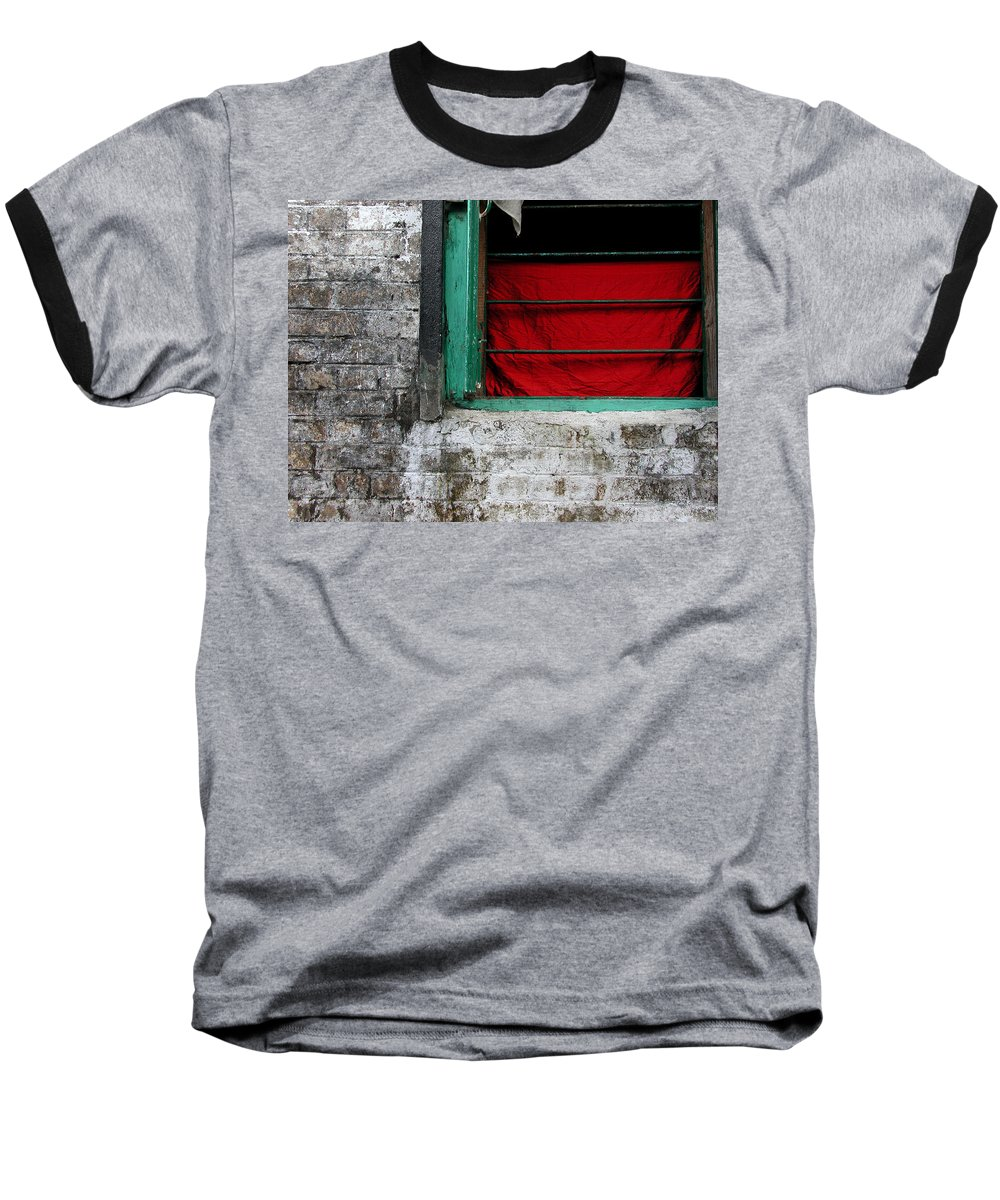 Red Baseball T-Shirt featuring the photograph Dharamsala Window by Skip Hunt