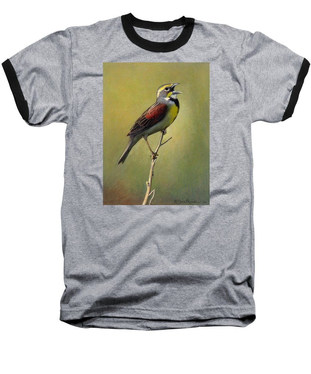 Birds Baseball T-Shirt featuring the drawing Dickcissel Summer Song by Bruce Morrison