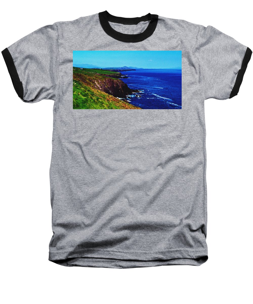 Irish Baseball T-Shirt featuring the digital art Dingle Coastline Near Fahan Ireland by Teresa Mucha