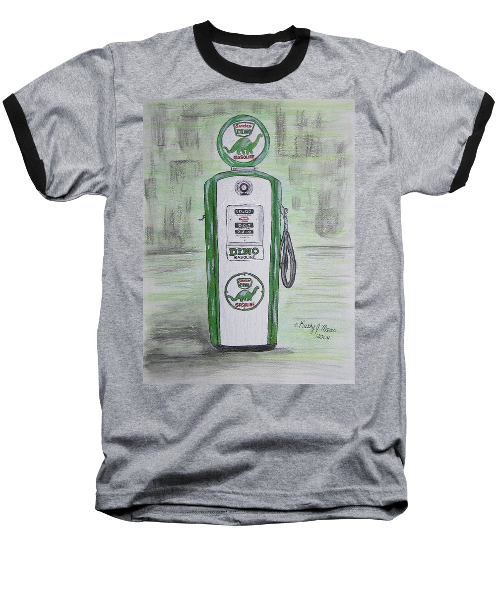 Dino Baseball T-Shirt featuring the painting Dino Sinclair Gas Pump by Kathy Marrs Chandler