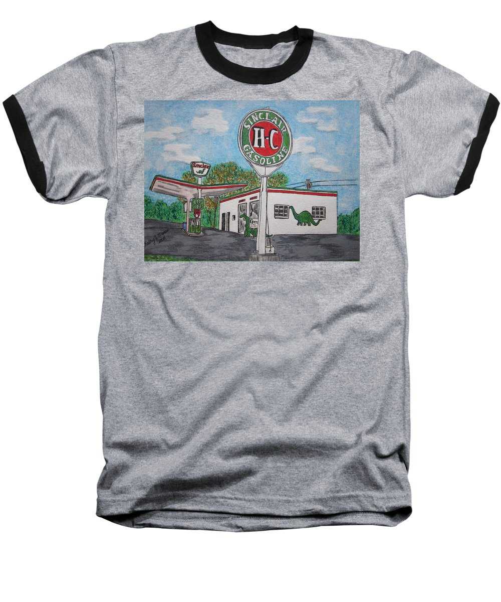 Dino Baseball T-Shirt featuring the painting Dino Sinclair Gas Station by Kathy Marrs Chandler