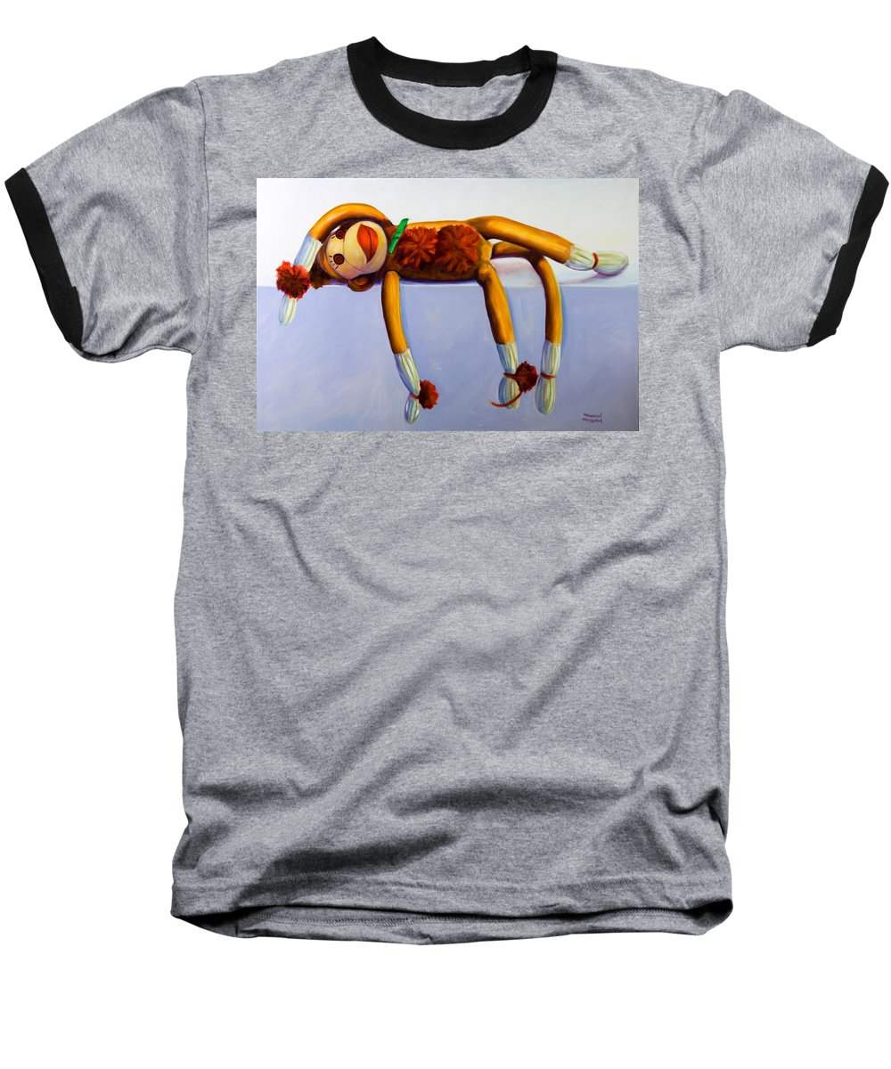 Diva Baseball T-Shirt featuring the painting Diva Made Of Sockies by Shannon Grissom