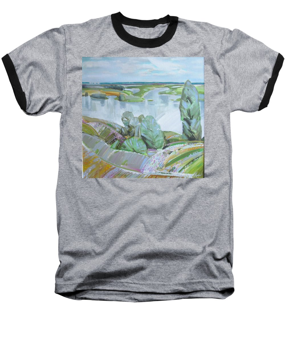 Landscape Baseball T-Shirt featuring the painting Dnepro River by Sergey Ignatenko