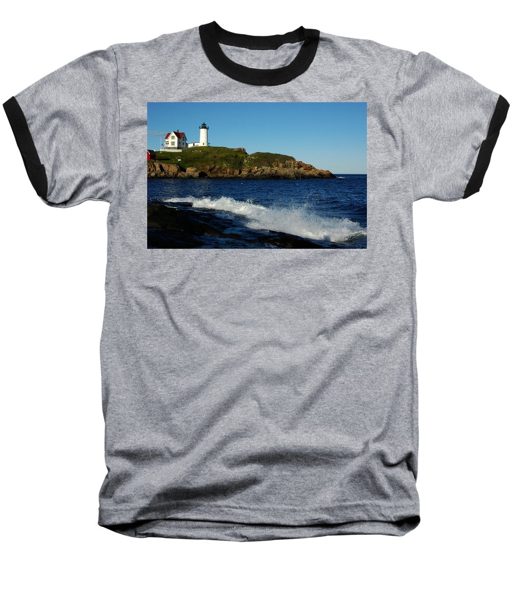 Landscape Lighthouse Nautical New England Cape Neddick Nubble Light Baseball T-Shirt featuring the photograph Dnre0608 by Henry Butz