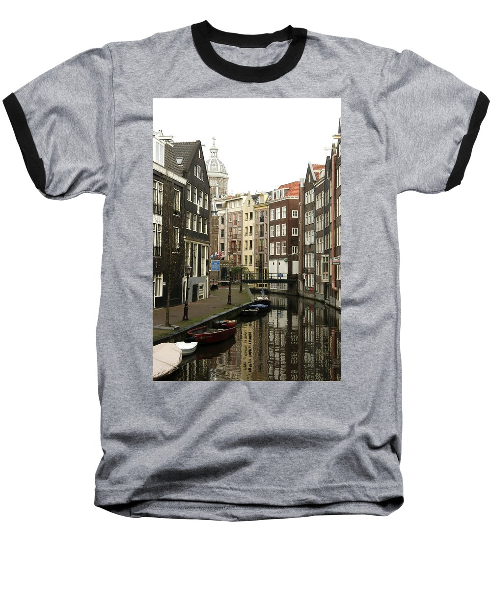 Landscape Amsterdam Red Light District Baseball T-Shirt featuring the photograph Dnrh1101 by Henry Butz