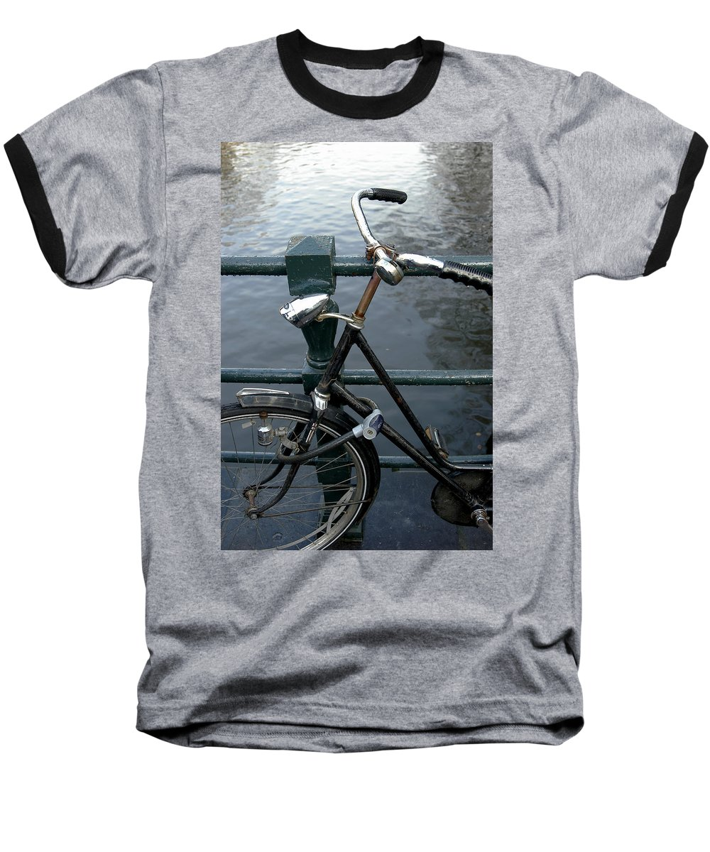 Landscape Amsterdam Red Light District Bicycle Baseball T-Shirt featuring the photograph Dnrh1104 by Henry Butz