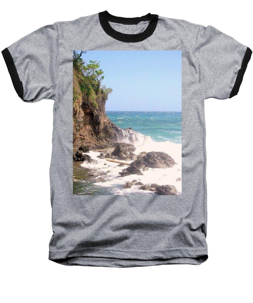 Dominica Baseball T-Shirt featuring the photograph Dominica North Atlantic Coast by Ian MacDonald
