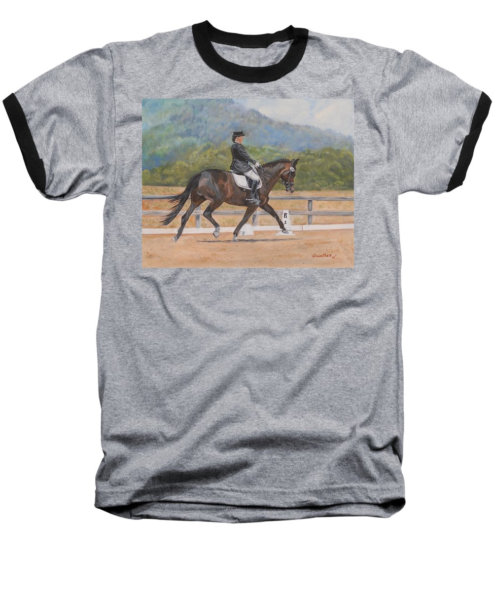 Horse Baseball T-Shirt featuring the painting Donnerlittchen by Quwatha Valentine