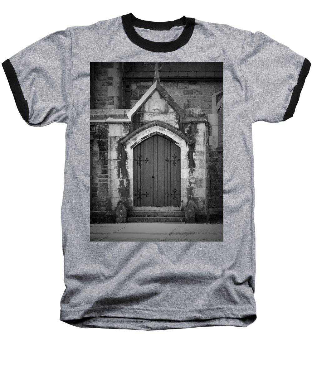 Irish Baseball T-Shirt featuring the photograph Door At St. Johns In Tralee Ireland by Teresa Mucha