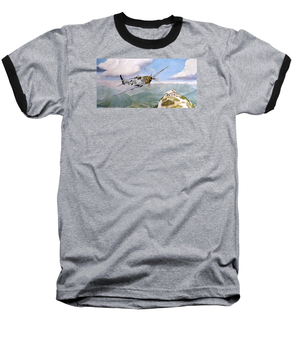 Military Baseball T-Shirt featuring the painting Double Trouble Over The Eagle by Marc Stewart