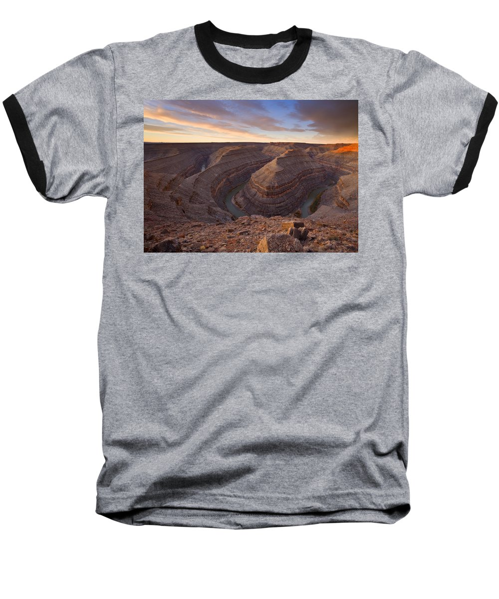 Goosenecks State Park Baseball T-Shirt featuring the photograph Doubleback by Mike Dawson