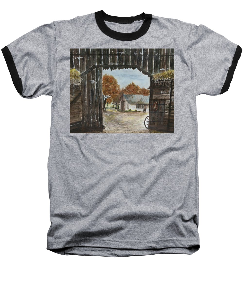 Grandpa And Grandma's Homeplace Baseball T-Shirt featuring the painting Down Home by Ben Kiger