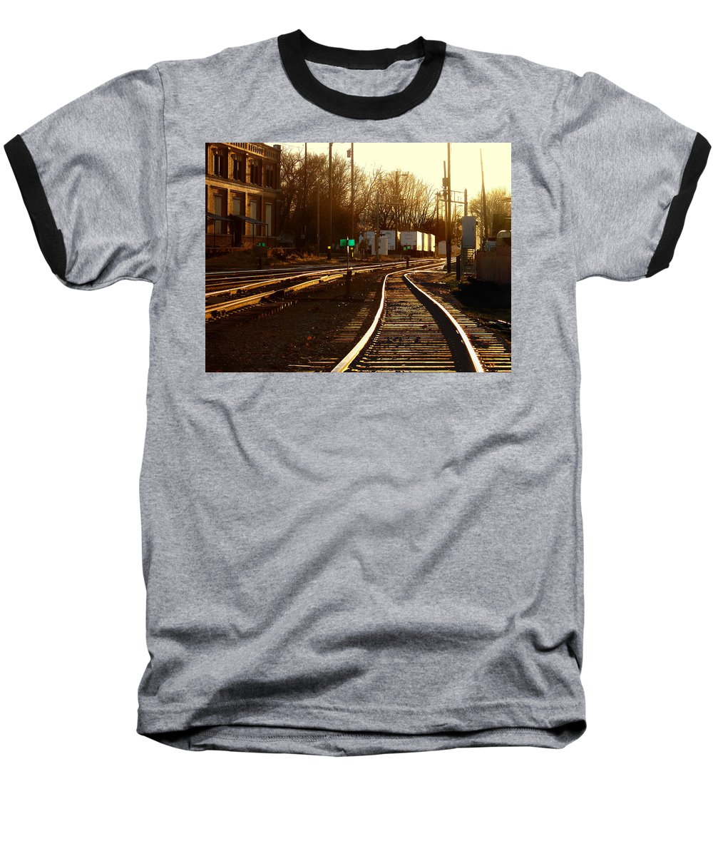 Landscape Baseball T-Shirt featuring the photograph Down The Right Track 2 by Steve Karol