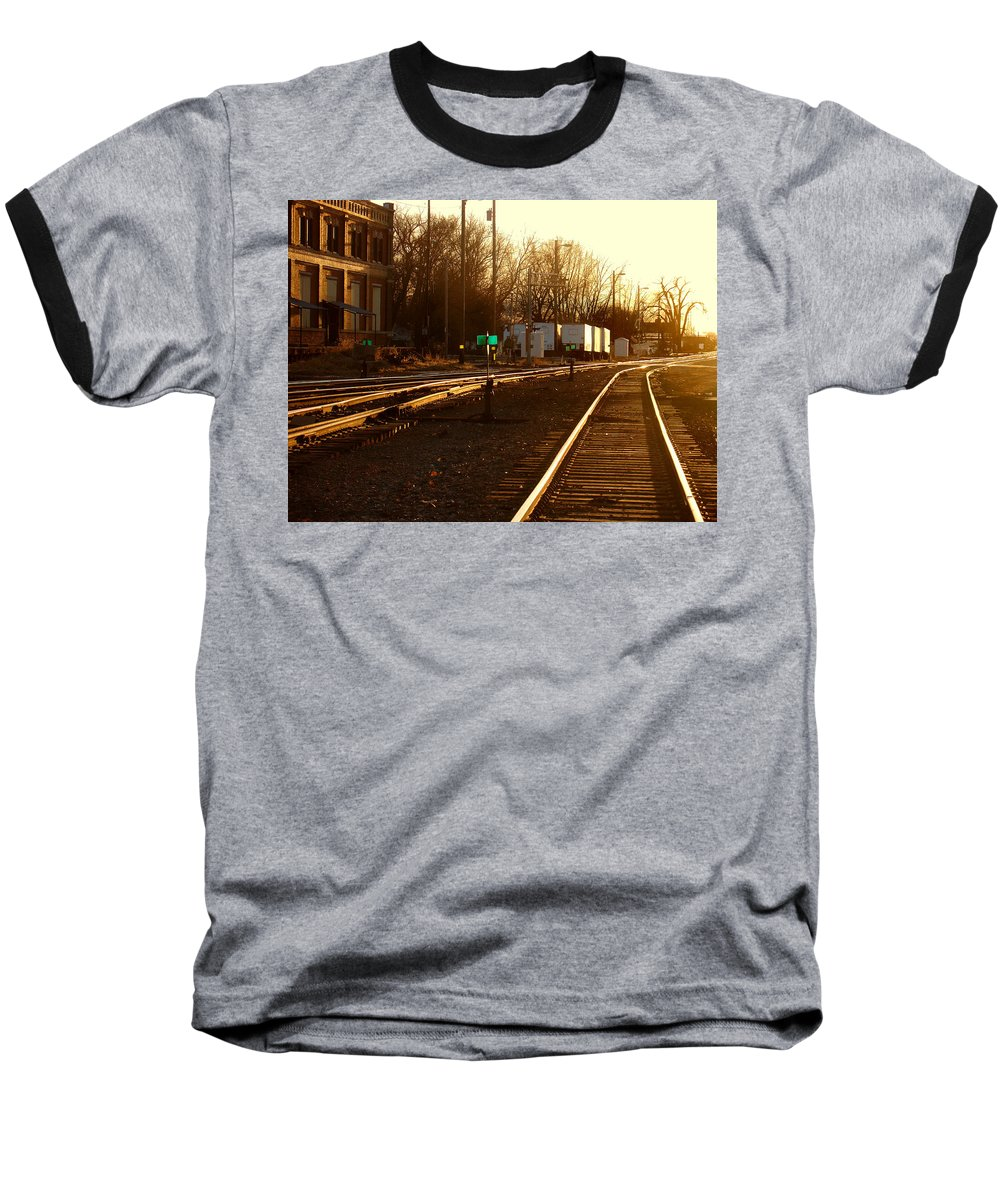 Landscape Baseball T-Shirt featuring the photograph Down The Right Track by Steve Karol