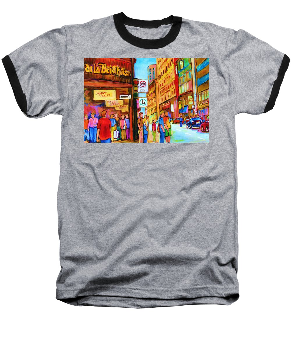 Cityscape Baseball T-Shirt featuring the painting Downtown by Carole Spandau