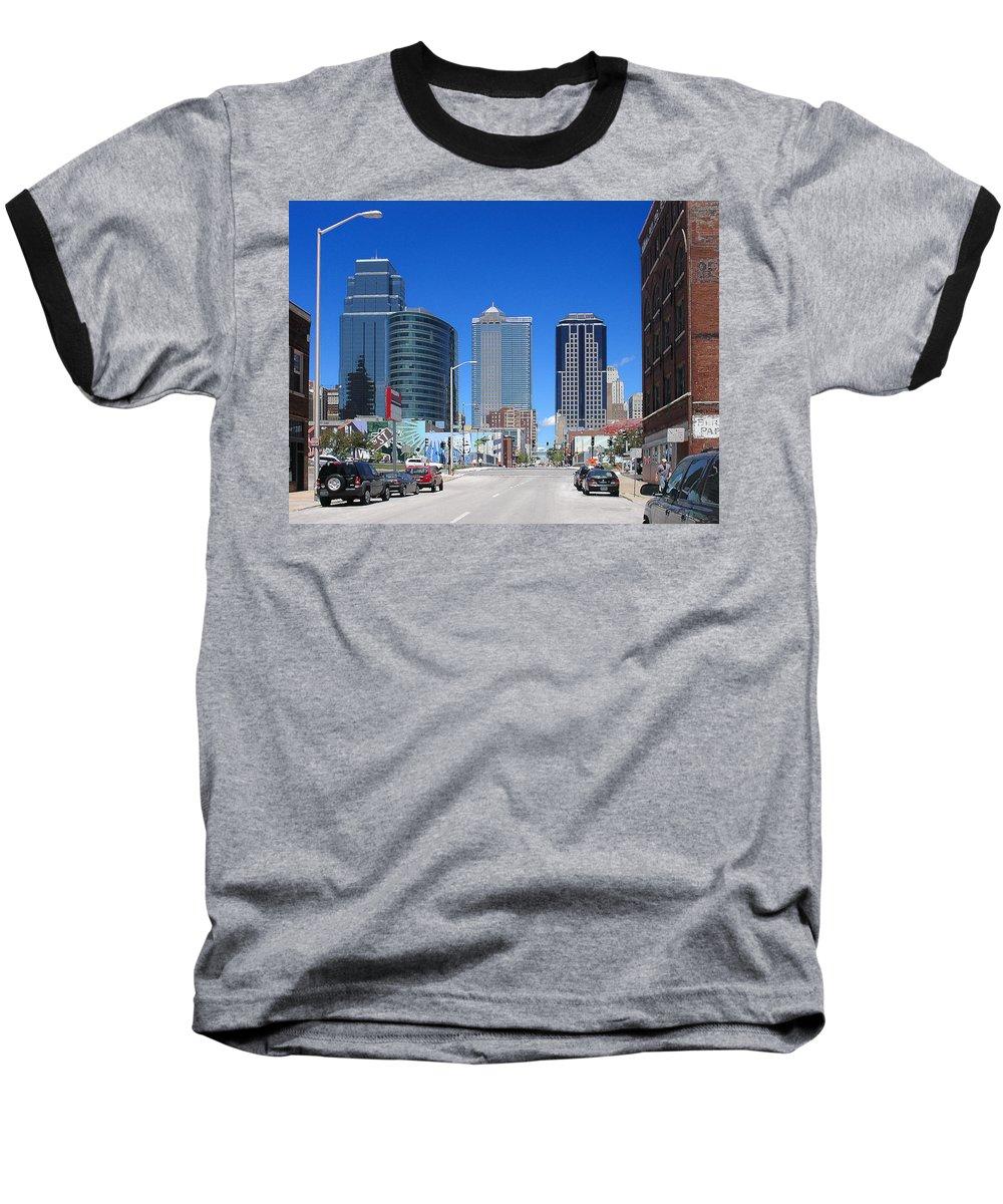 City Baseball T-Shirt featuring the photograph Downtown Kansas City by Steve Karol