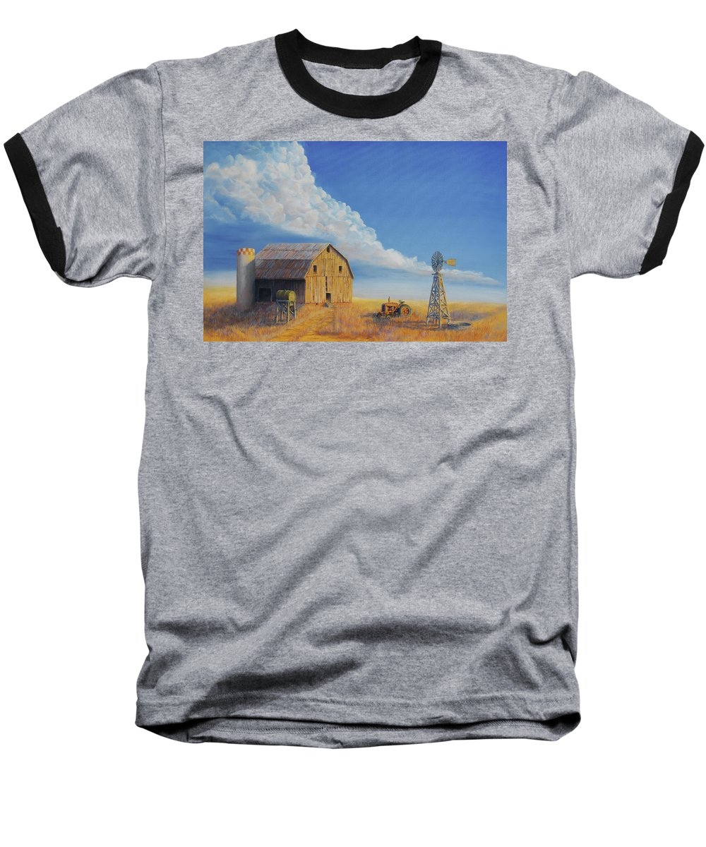 Barn Baseball T-Shirt featuring the painting Downtown Wyoming by Jerry McElroy