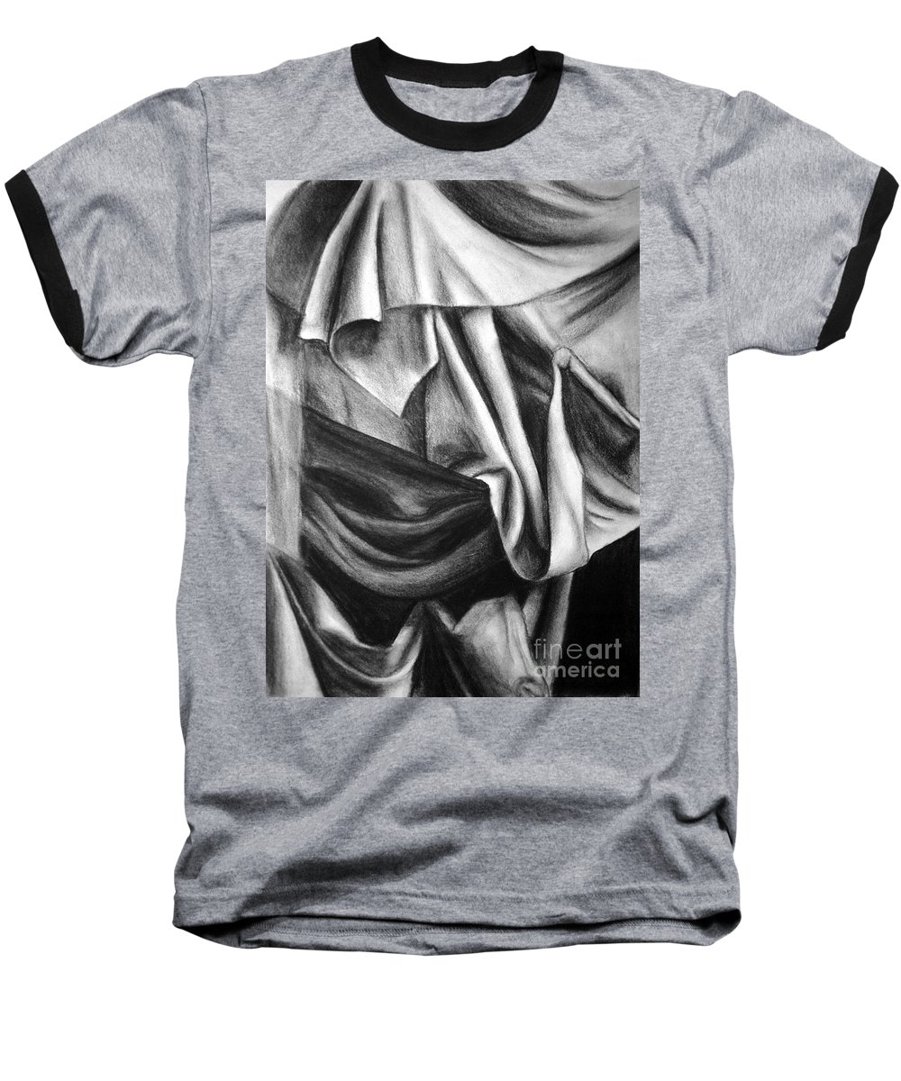 Charcoal Baseball T-Shirt featuring the drawing Drapery Still Life by Nancy Mueller