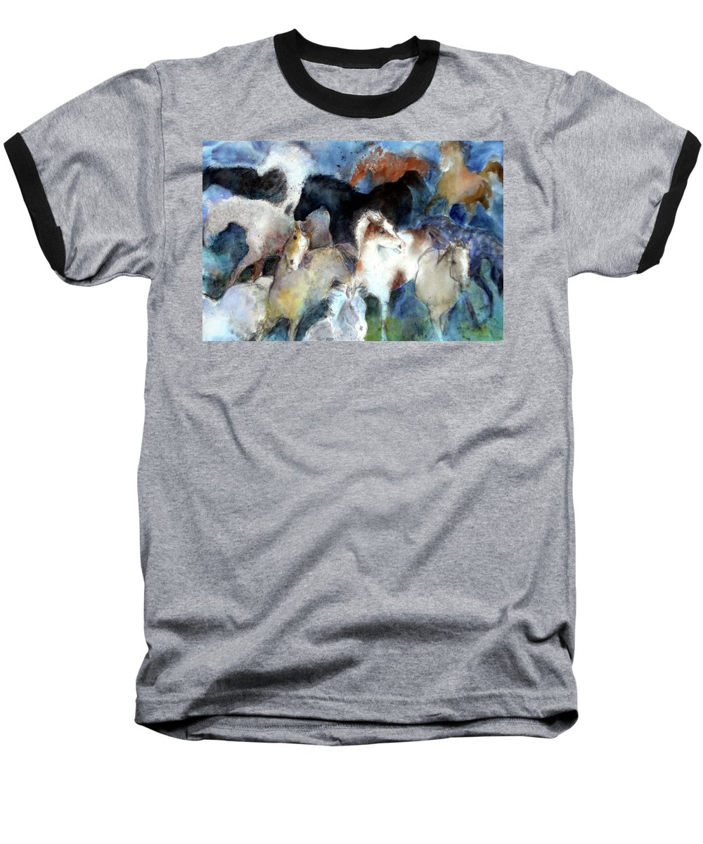 Horses Baseball T-Shirt featuring the painting Dream Of Wild Horses by Christie Michelsen