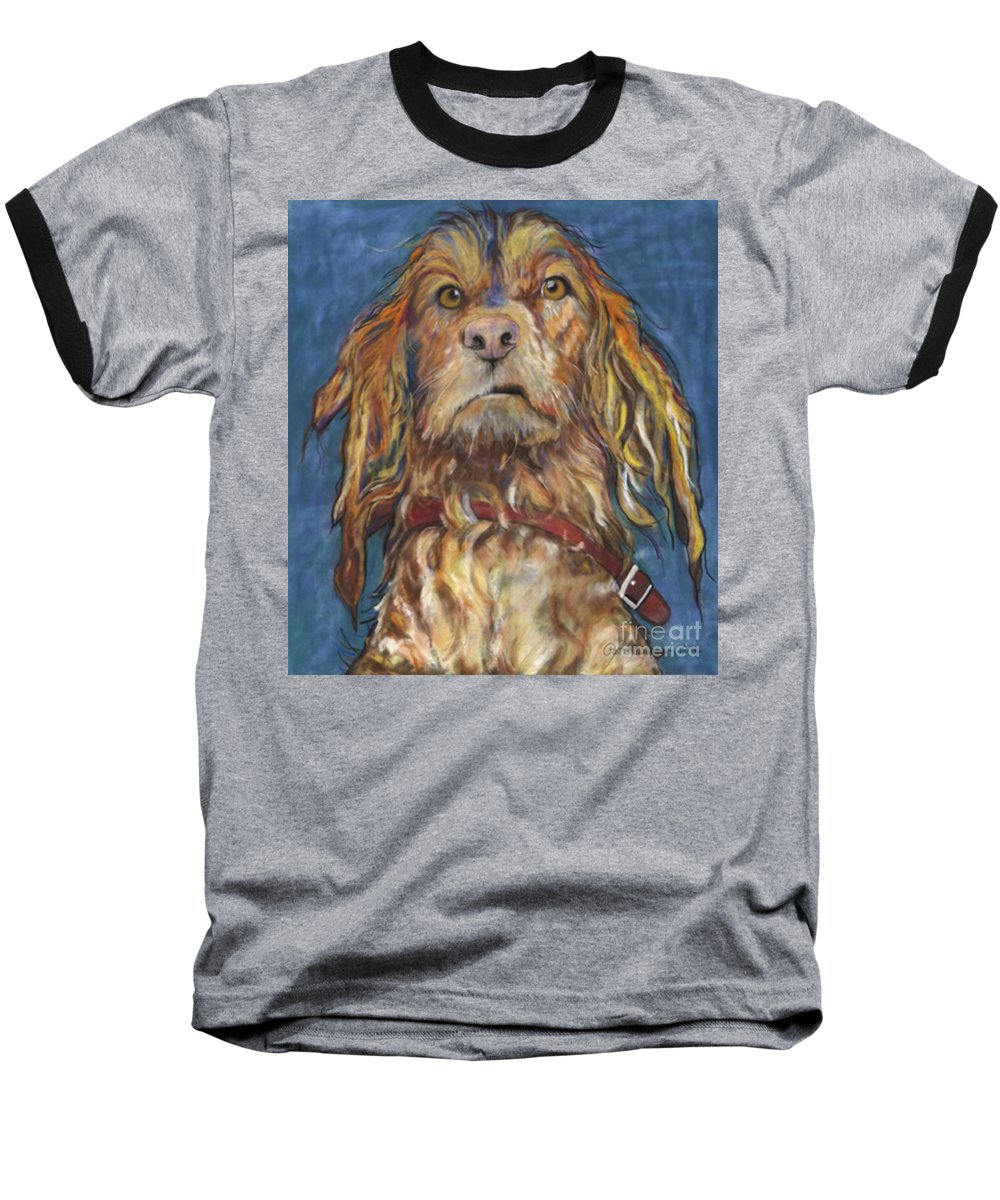 Golden Retriever Painting Baseball T-Shirt featuring the pastel Drenched by Pat Saunders-White
