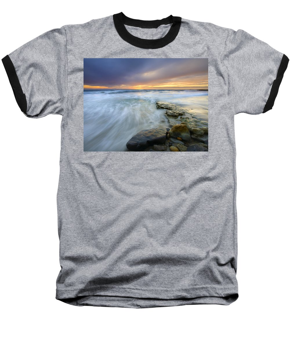 Rocks Baseball T-Shirt featuring the photograph Driven Before The Storm by Mike Dawson