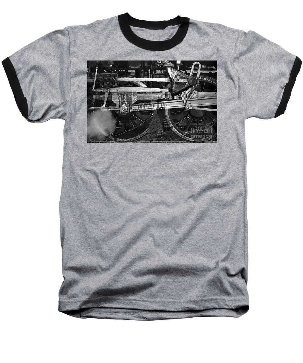 Trains Baseball T-Shirt featuring the photograph Driving Wheels by Richard Rizzo