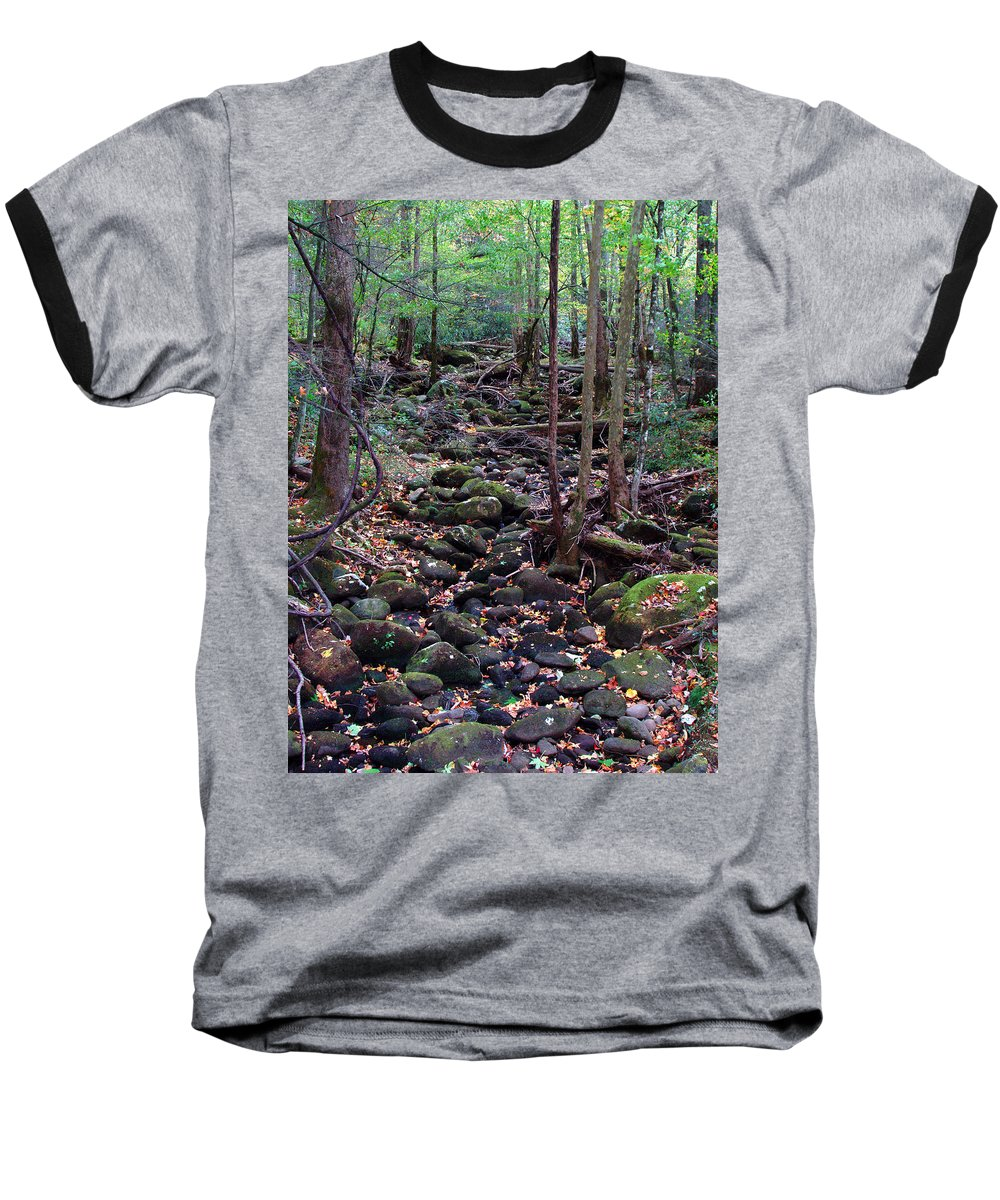 River Baseball T-Shirt featuring the photograph Dry River Bed- Autumn by Nancy Mueller