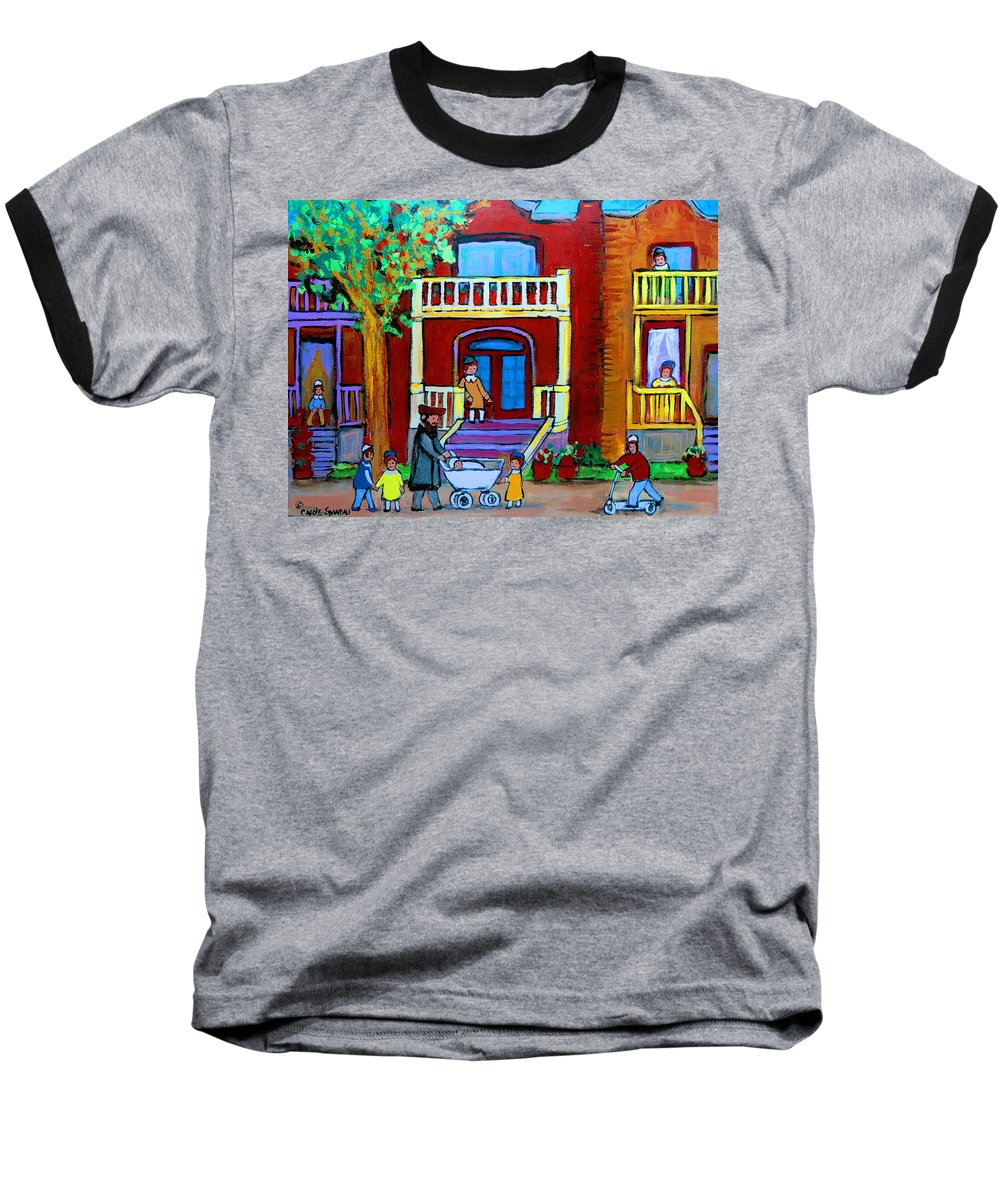 Judaica Baseball T-Shirt featuring the painting Durocher Street Montreal by Carole Spandau