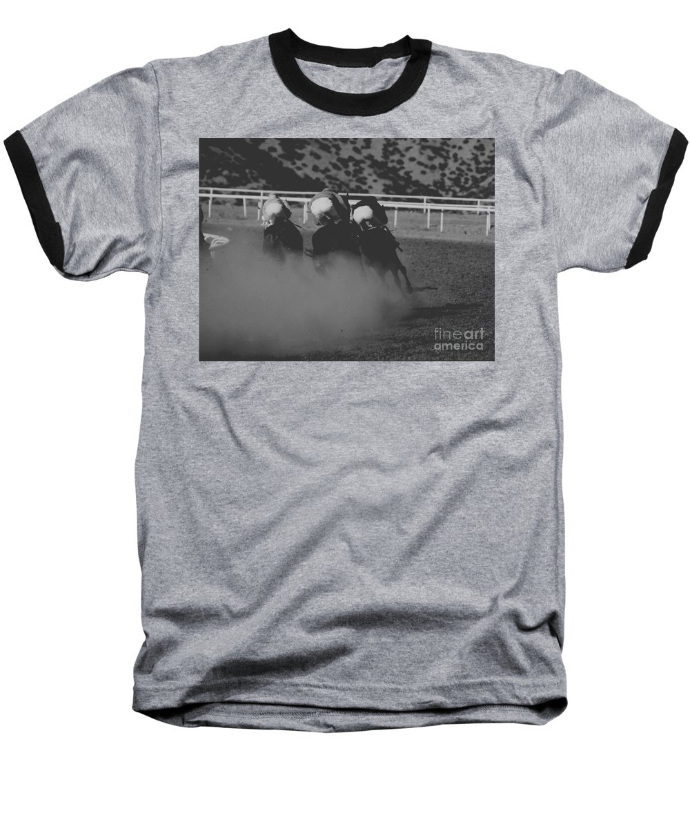 Horse Baseball T-Shirt featuring the photograph Dust And Butts by Kathy McClure