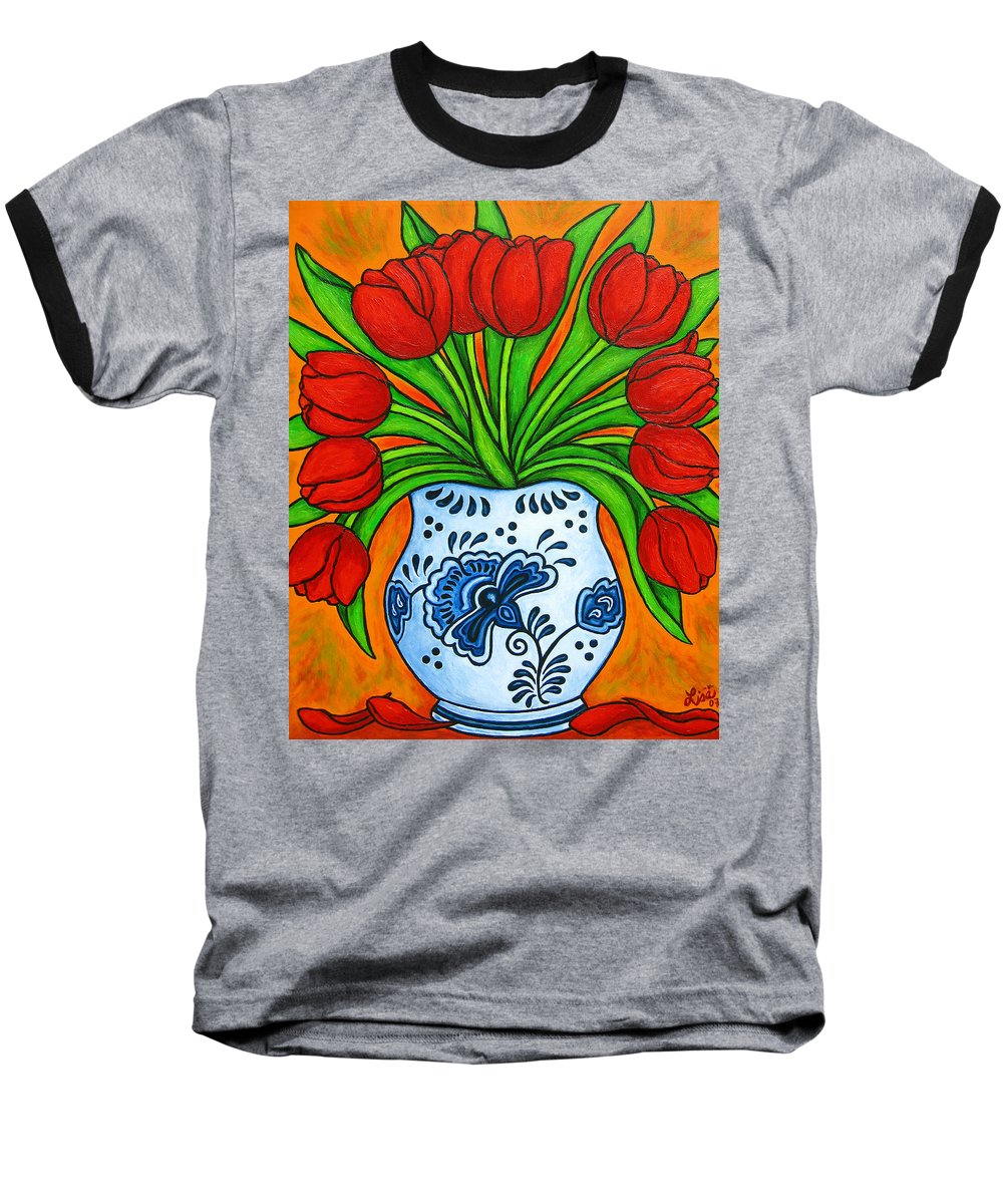 White Baseball T-Shirt featuring the painting Dutch Delight by Lisa Lorenz