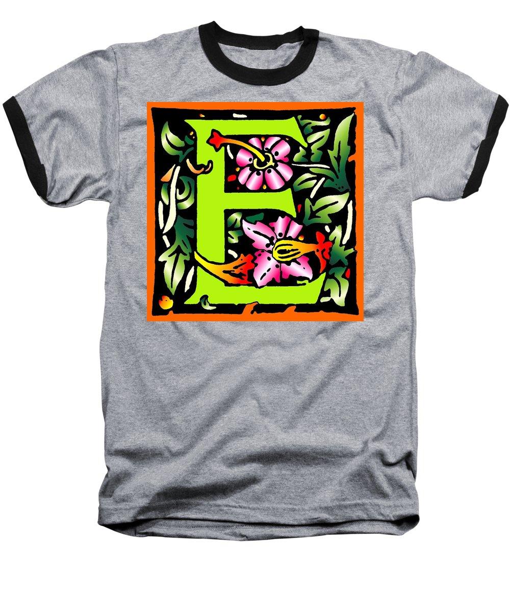 Alphabet Baseball T-Shirt featuring the digital art E In Green by Kathleen Sepulveda
