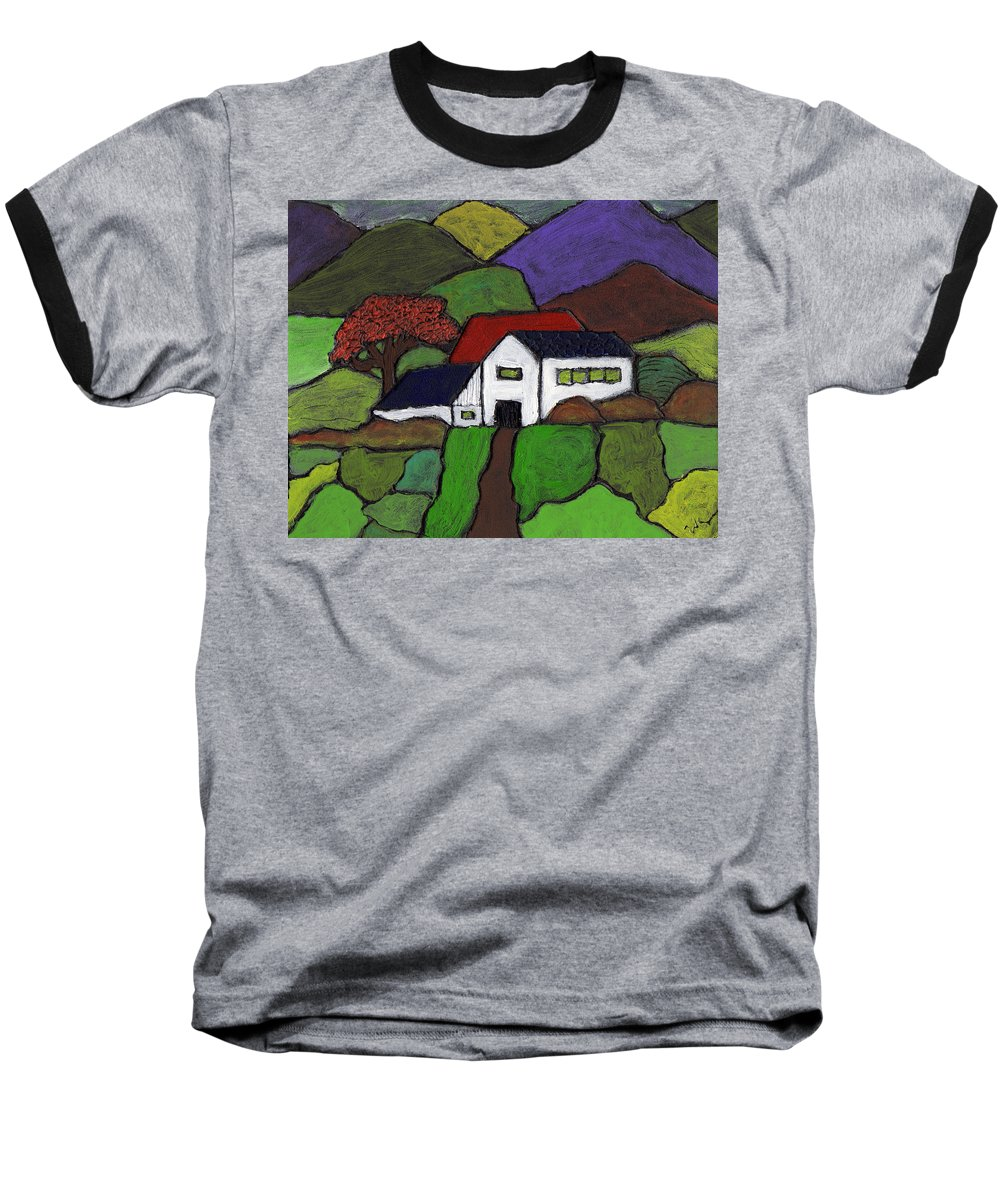 Farm Baseball T-Shirt featuring the painting Early Autumn by Wayne Potrafka