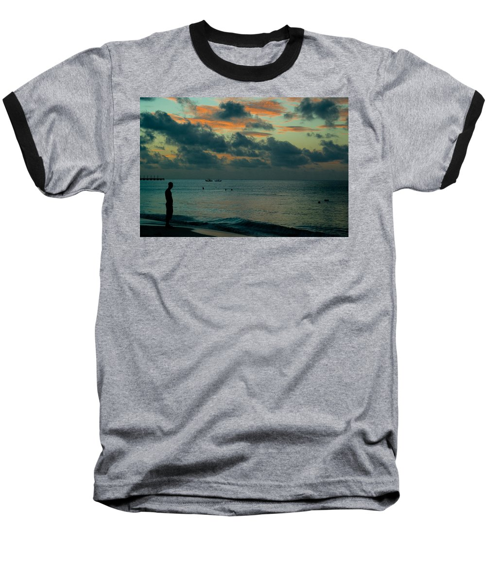 Sea Baseball T-Shirt featuring the photograph Early Morning Sea by Douglas Barnett