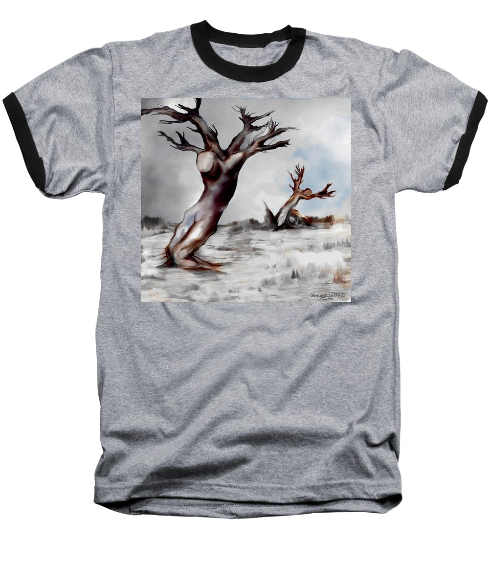 Trees Soul Nature Sky Storm Freedom Baseball T-Shirt featuring the mixed media Earthbound by Veronica Jackson