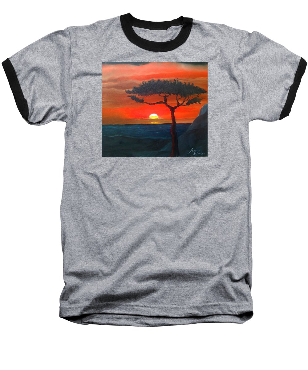 Africa! Baseball T-Shirt featuring the painting East African Sunset by Portland Art Creations