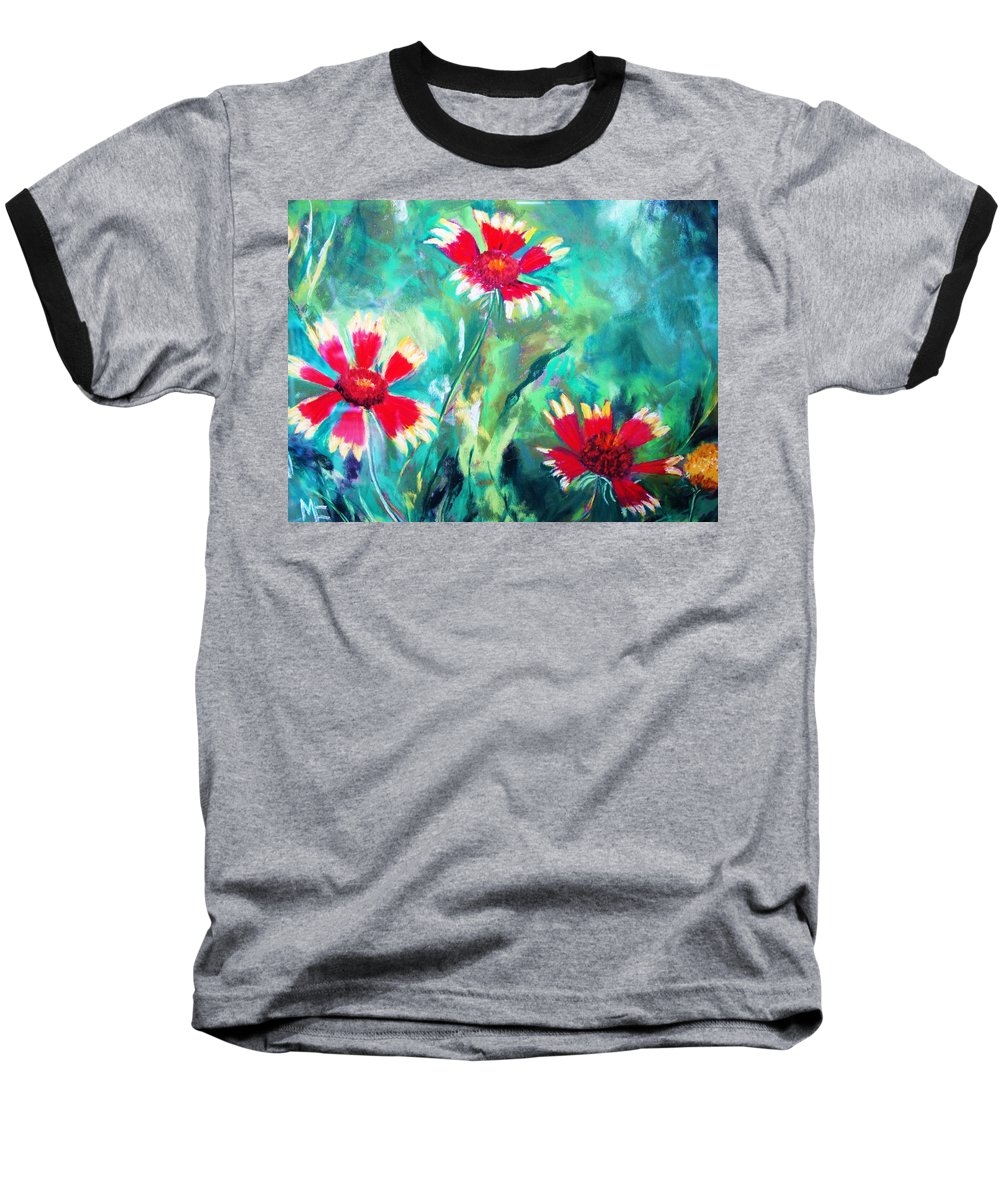 Flowers Baseball T-Shirt featuring the painting East Texas Wild Flowers by Melinda Etzold