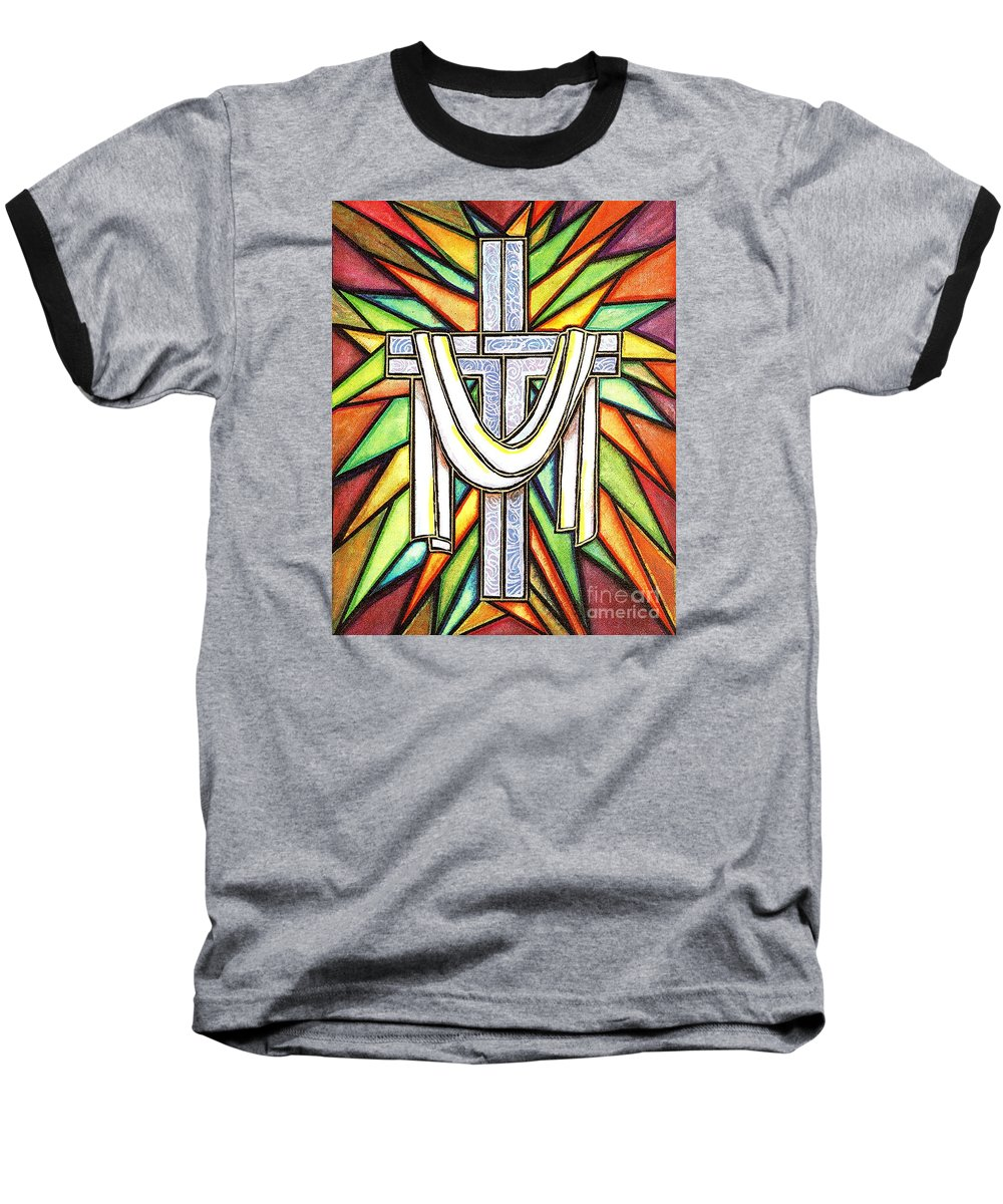 Cross Baseball T-Shirt featuring the painting Easter Cross 5 by Jim Harris