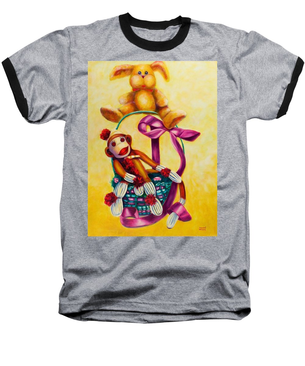 Easter Baseball T-Shirt featuring the painting Easter Made Of Sockies by Shannon Grissom