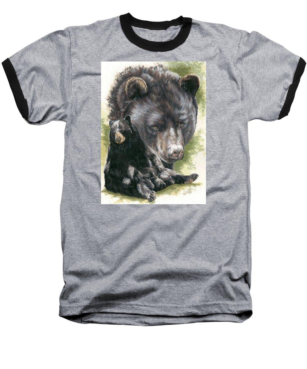 Black Bear Baseball T-Shirt featuring the mixed media Ebony by Barbara Keith