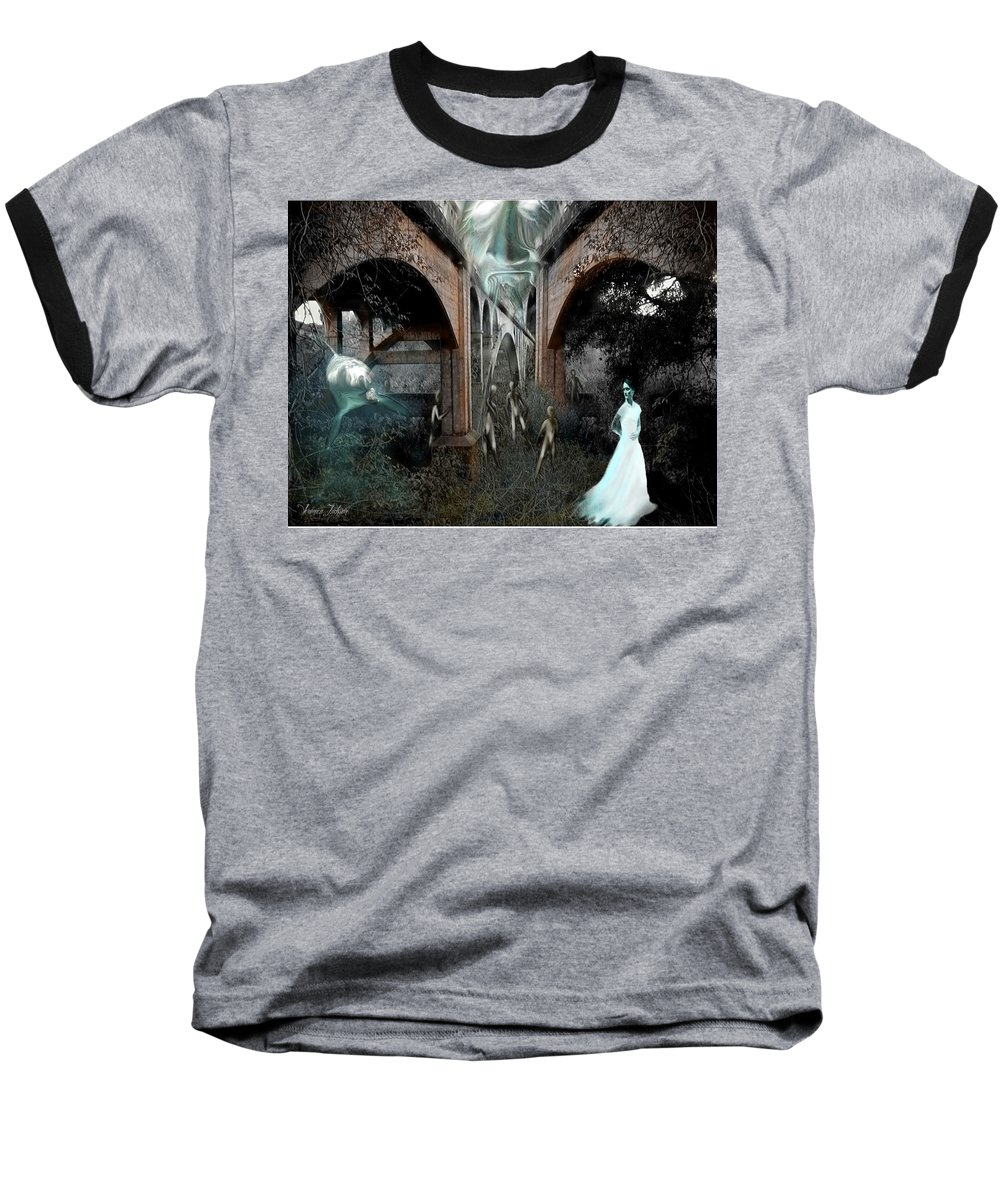 Eden Surreal Creatures Bridges Dreaming Baseball T-Shirt featuring the digital art Eden by Veronica Jackson