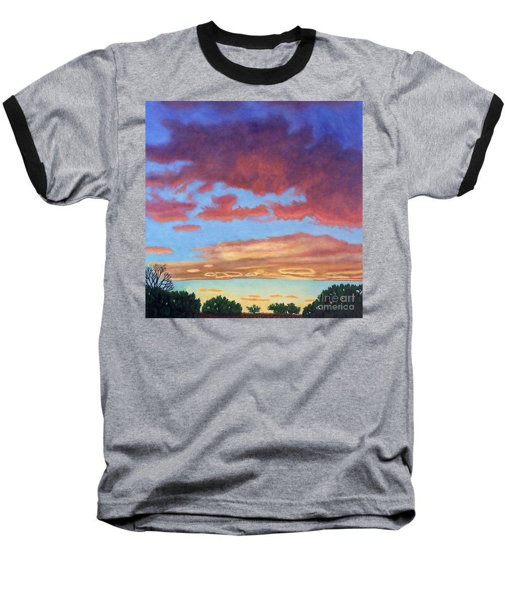 Sunset Baseball T-Shirt featuring the painting El Dorado Sunset by Brian Commerford