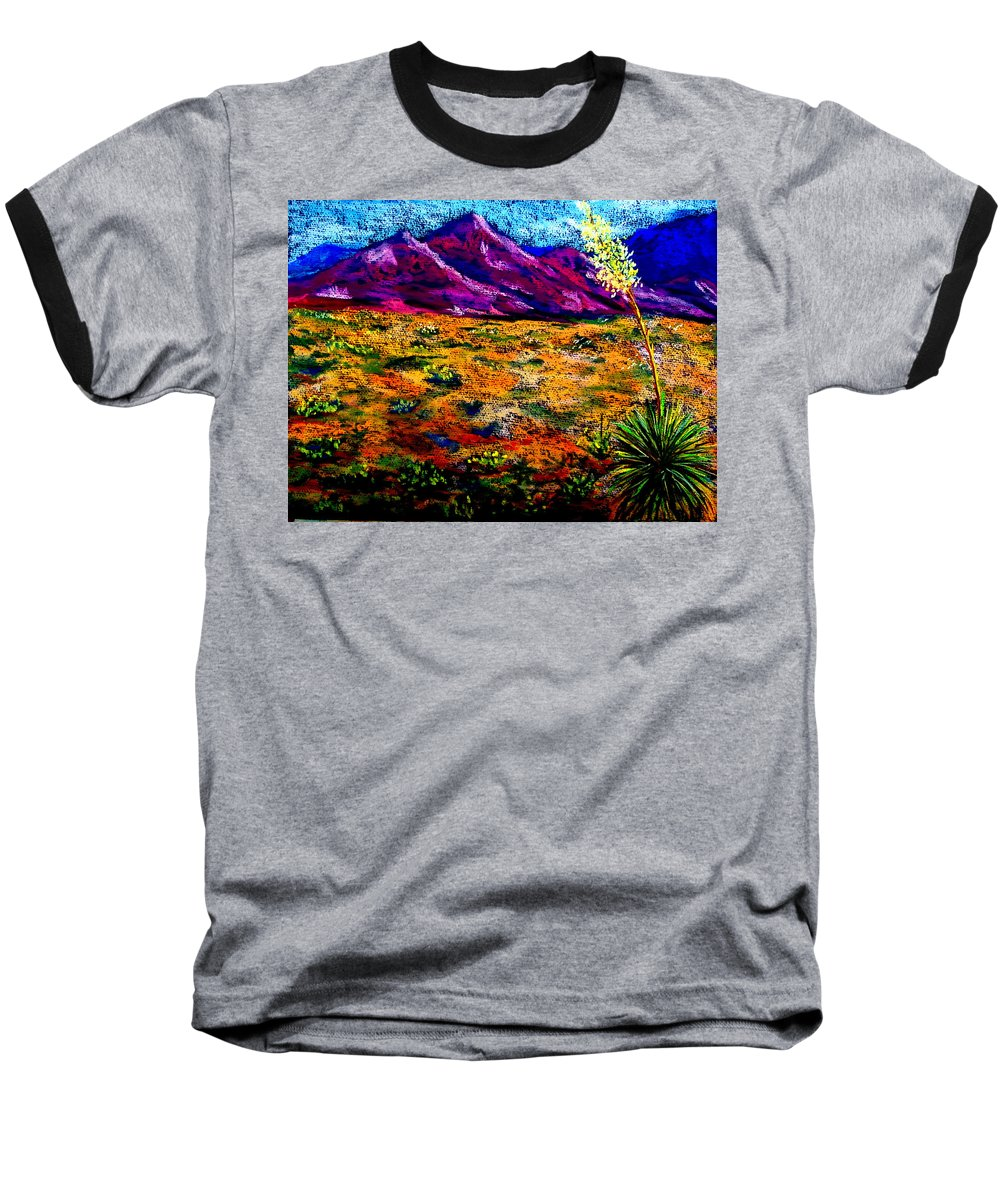 Yucca Baseball T-Shirt featuring the painting El Paso by Melinda Etzold