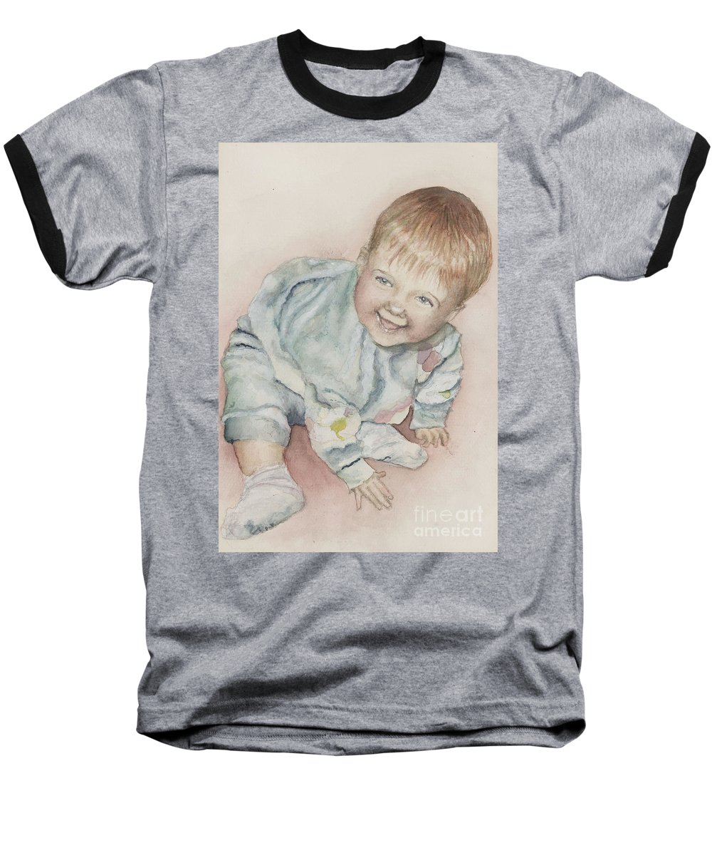 Girl Baseball T-Shirt featuring the painting Elise by Nadine Rippelmeyer