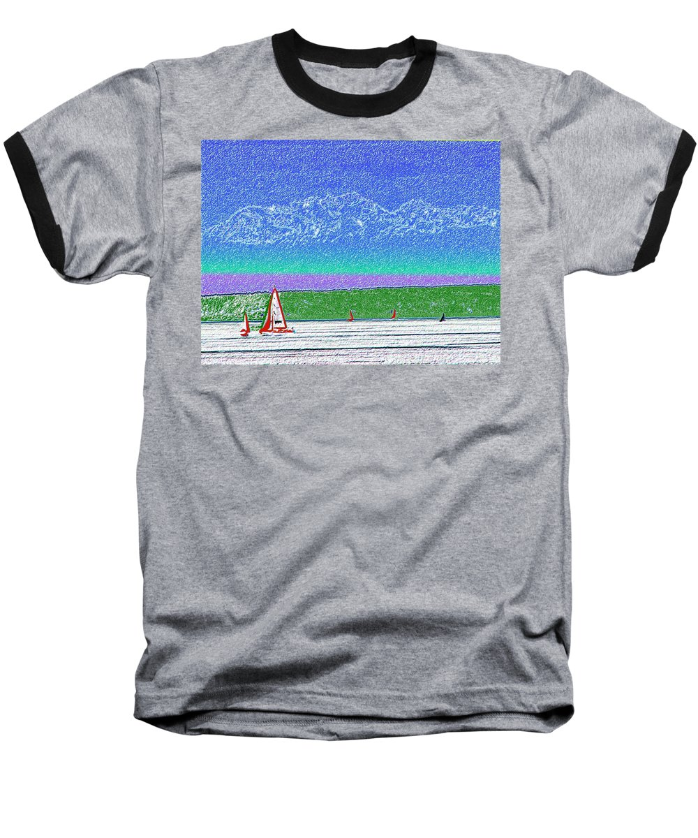 Seattle Baseball T-Shirt featuring the digital art Elliott Bay Sail by Tim Allen