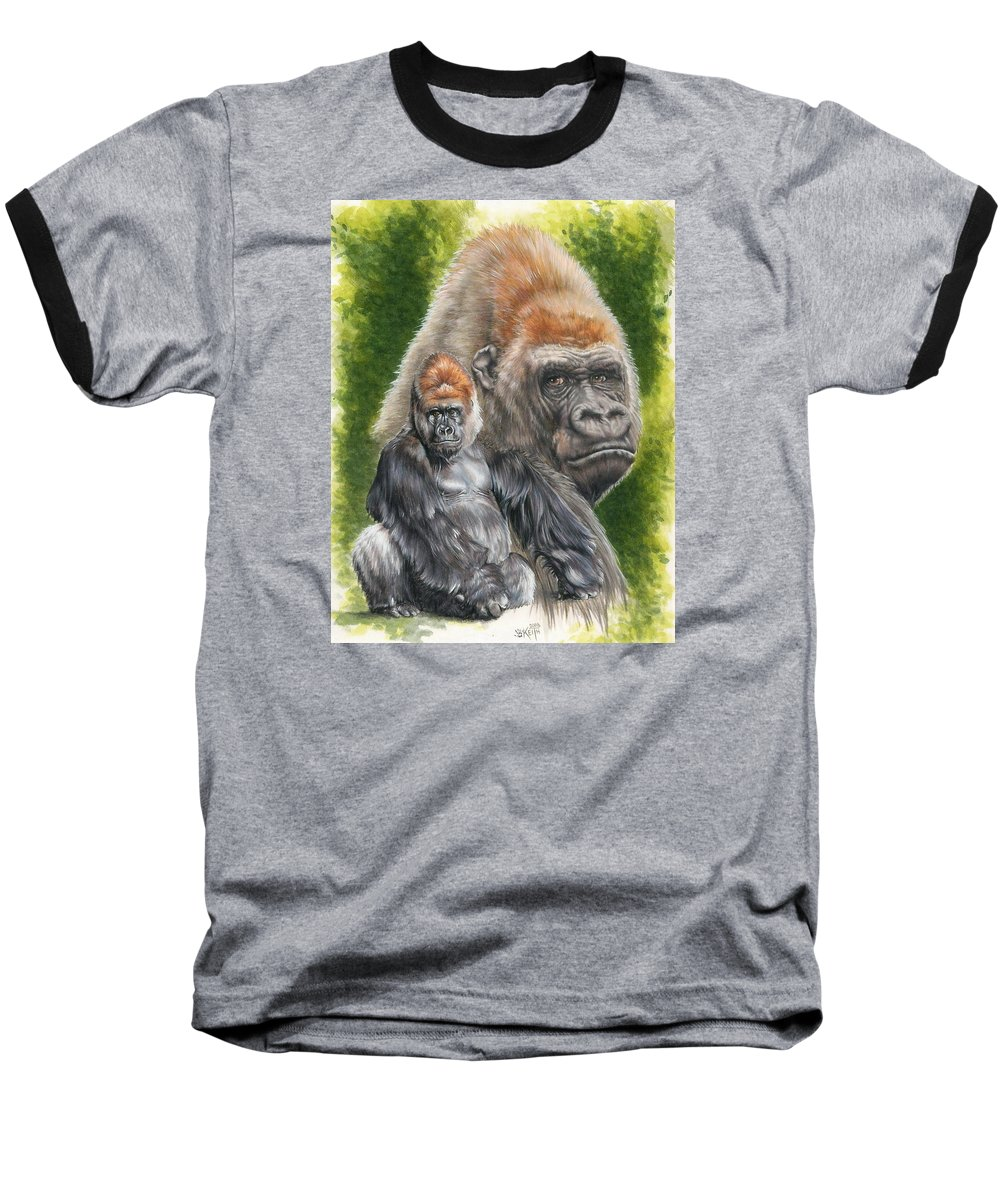 Gorilla Baseball T-Shirt featuring the mixed media Eloquent by Barbara Keith
